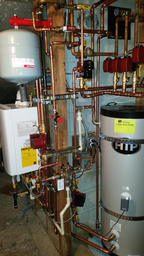Wall hung boiler with indirect storage tank